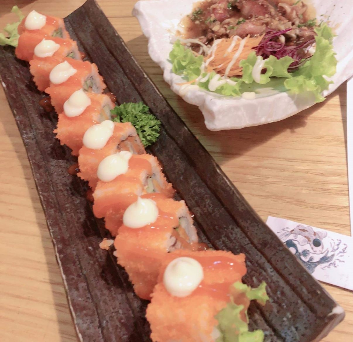 samon roll and squid