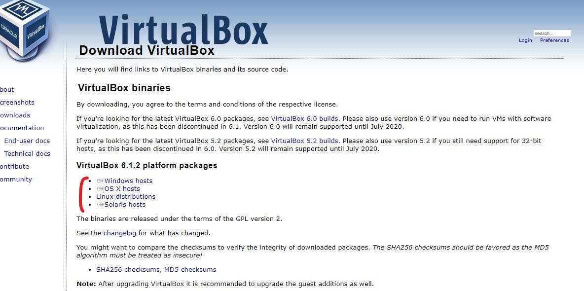 virtualbox install page